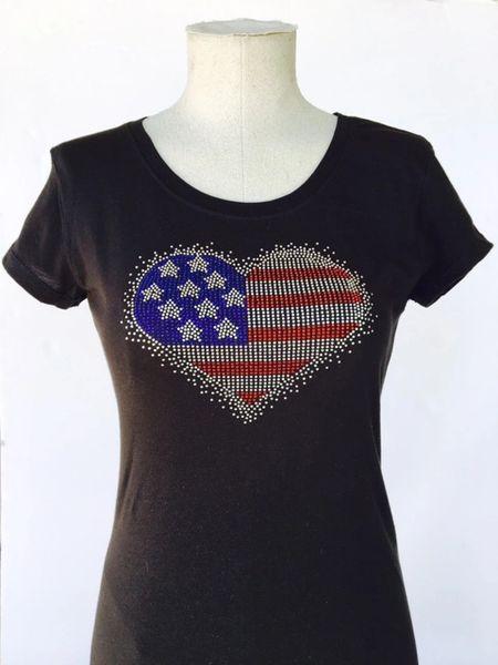 American Heart Bling T-Shirt - Black