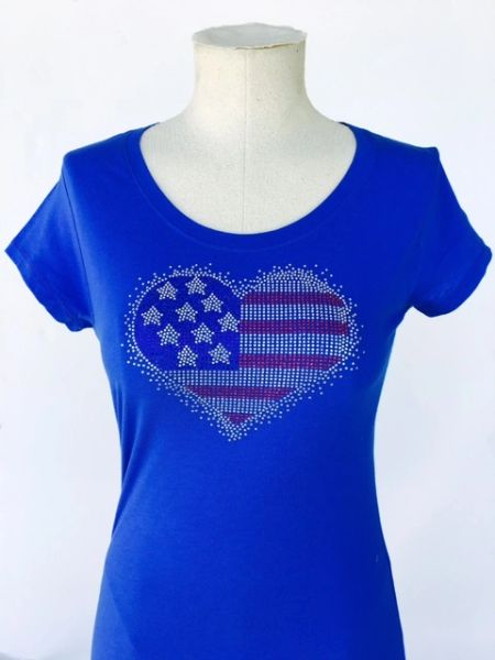 American Heart Bling T-Shirt - Blue