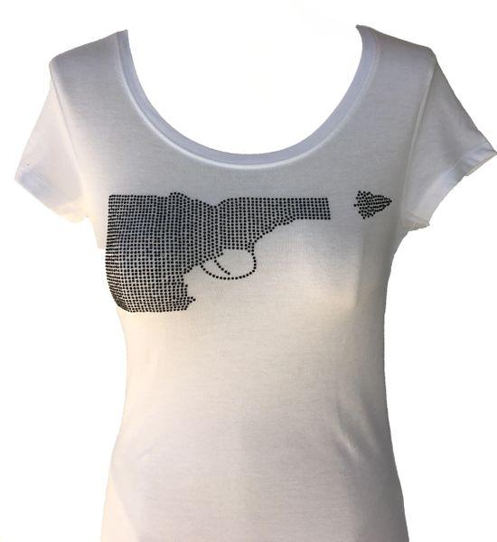 Idaho Gun Black Rhinestone T-shirt - White
