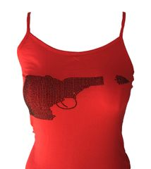 Idaho Gun Black Rhinestone Tank - Red