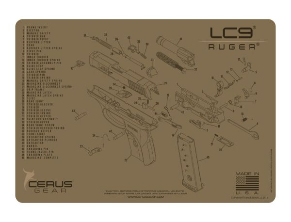 RUGER LC9 PISTOL SCHEMATIC PROMAT by CERUS GEAR
