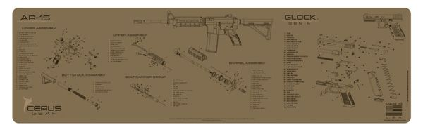 AR-15 & GLOCK COMBO SCHEMATIC MAGNUM XXL PROMAT by CERUS GEAR