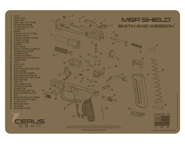 SMITH & WESSON® M&P SHIELD® SCHEMATIC PROMAT by CERUS GEAR