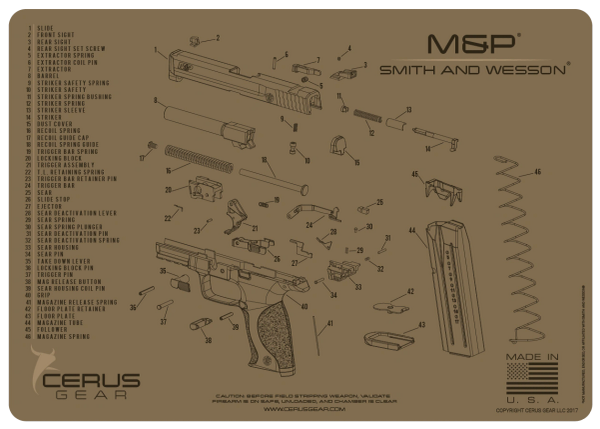 SMITH & WESSON® M&P® SCHEMATIC PROMAT by CERUS GEAR