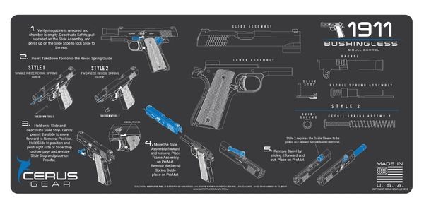 1911 BUSHINGLESS & BULL BARREL INSTRUCTIONAL PROMAT by CERUS GEAR