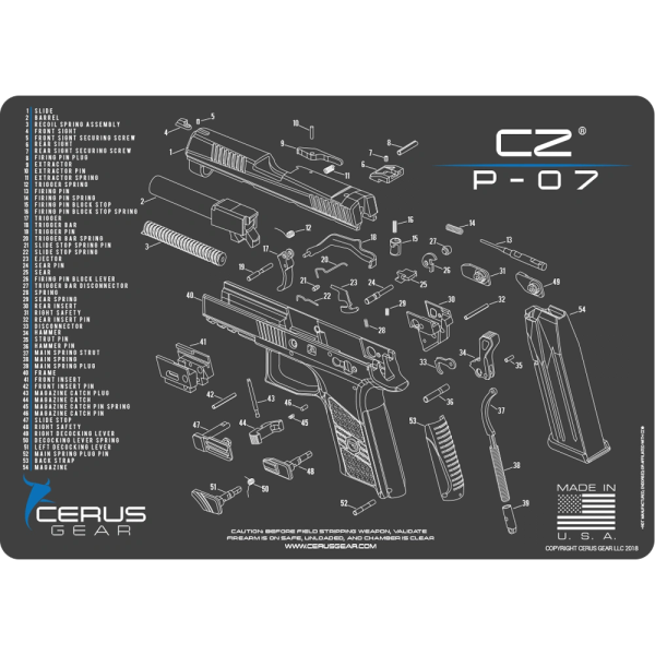CZ® P-07 PISTOL SCHEMATIC PROMAT by Cerus Gear