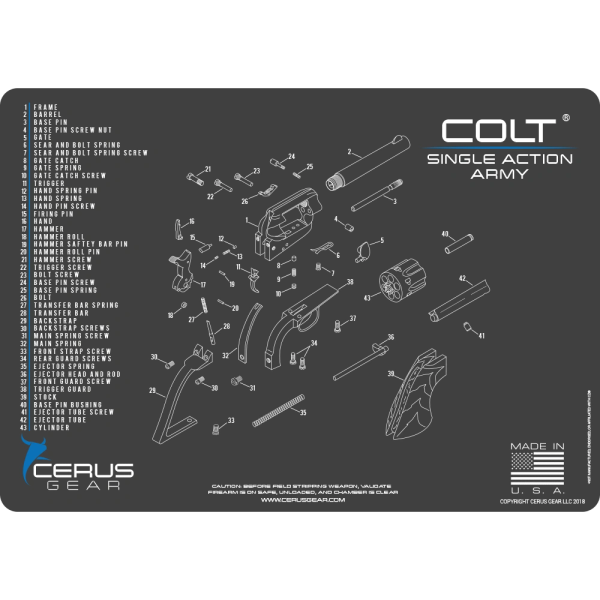 COLT SINGLE ACTION ARMY REVOLVER SCHEMATIC PROMAT