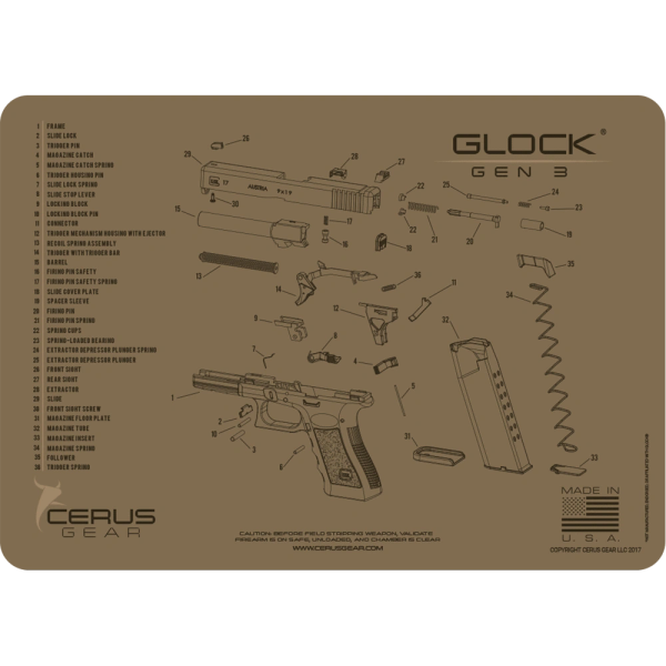 GLOCK GEN3 SCHEMATIC GUN CLEANING PROMAT by Cerus Gear