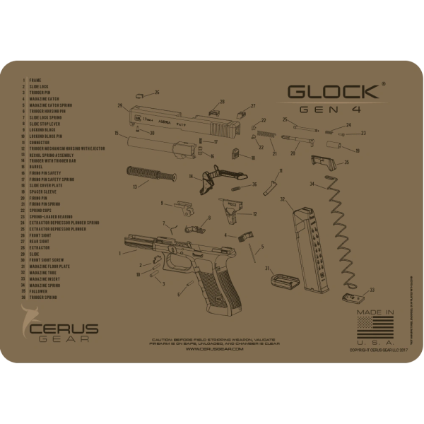 GLOCK GEN4 SCHEMATIC GUN CLEANING PROMAT by Cerus Gear