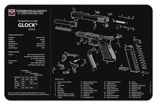 GLOCK GEN 4 PISTOL ARMOURERS CLEANING & DIS ASSEMBLY TEKMAT - Black or Grey