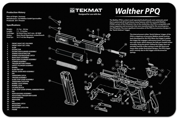 WALTHER PPQ 9mm PISTOL TEKMAT