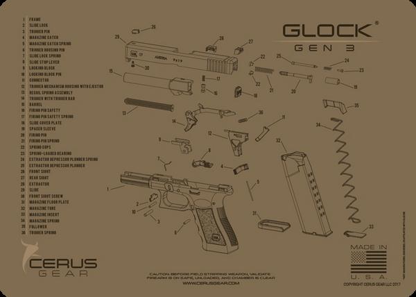 GLOCK® GEN3 PISTOL SCHEMATIC PROMAT by CERUS GEAR