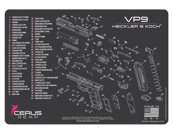 HECKLER & KOCH H&K ® HK VP9 PISTOL SCHEMATIC PROMAT by CERUS GEAR
