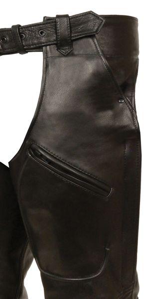 Eyelet Trim Stretch Thigh Vintage Gray Leather Chaps w/Zip
