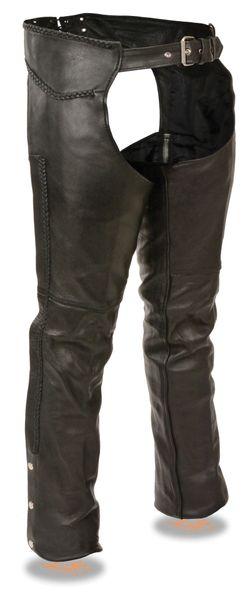 Eyelet Trim Stretch Thigh Naked Leather Chaps w/Zip Pocket
