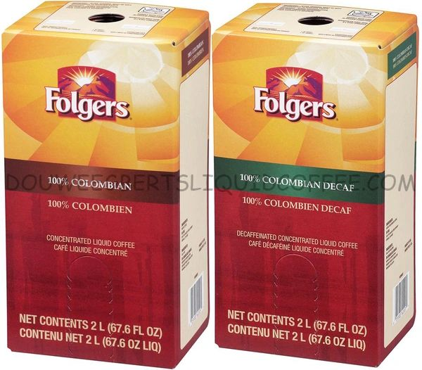 Folgers 2 Liter 100% Colombian Regular and Decaf Liquid Coffee (1 box ea.)