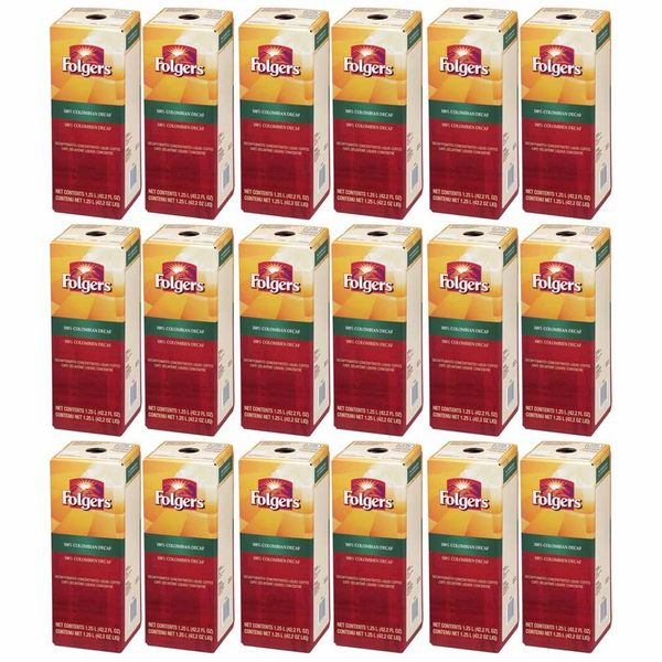 Folgers 1.25 Liter 100% Colombian Decaf Liquid Coffee Concentrate (Eighteen Boxes)