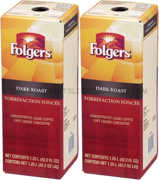Folgers 1.25 Liter Dark Roast Liquid Coffee Concentrate (Two Boxes)