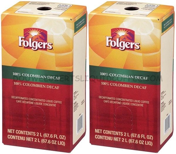 Folgers 2 Liter 100% Colombian Decaf Liquid Coffee Concentrate (Two Boxes)