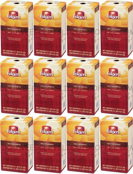 Folgers 2 Liter 100% Colombian Liquid Coffee Concentrate (Twelve Boxes)