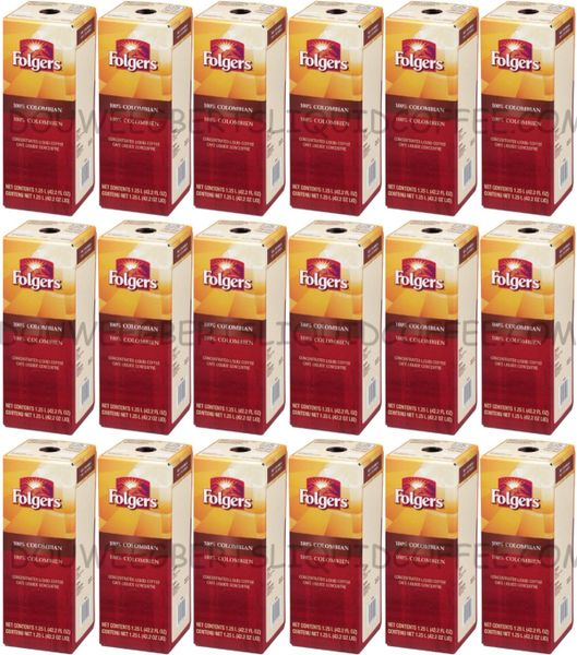 Folgers 1.25 Liter 100% Colombian Liquid Coffee Concentrate (Eighteen Boxes)
