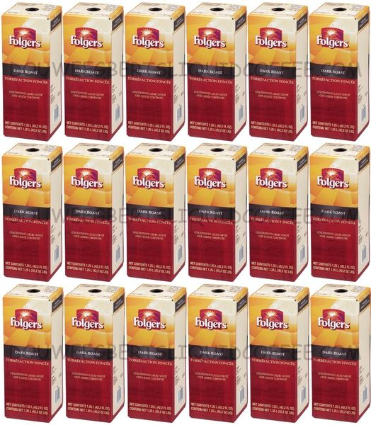 Folgers 1.25 Liter Dark Roast Liquid Coffee Concentrate (Eighteen Boxes)