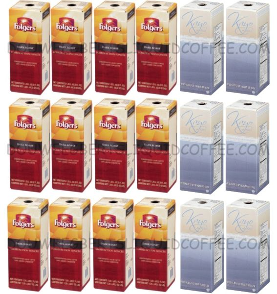 Folgers 1.25 Liter Dark Roast Liquid Coffee Concentrate (Twelve Boxes) & Cafi Lait Milk 1.25 Liter (Six Boxes)