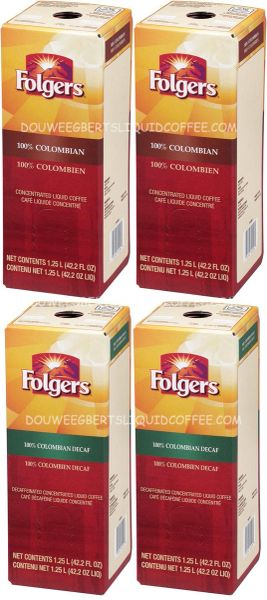 Folgers 1.25 Liter 100% Colombian (Two Boxes) & Folgers 1.25 Liter 100% Colombian Decaf Liquid Coffee Concentrate (Two Boxes)