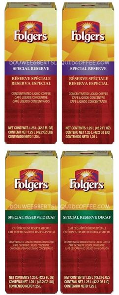 Folgers 1.25 Liter Special Reserve Liquid Coffee Concentrate (Two Boxes) & Folgers 1.25 Liter Special Reserve Decaf Liquid Coffee Concentrate (Two Boxes)
