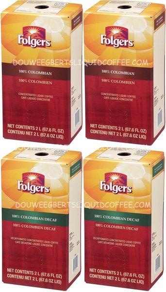 Folgers 2 Liter 100% Colombian Liquid Coffee Concentrate (Two Boxes) & Folgers 2 Liter 100% Colombian Decaf (Two Boxes)