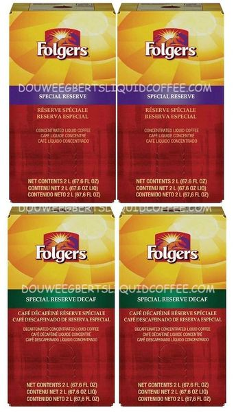 Folgers 2 Liter Special Reserve Liquid Coffee Concentrate (Two Boxes) & Folgers Special Reserve Decaf Liquid Coffee Concentrate (Two Boxes)