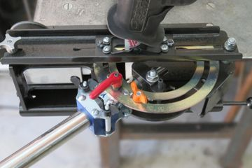 Angle-Rite® Miter Notcher shown with tube in place for notching.