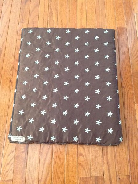 Small cat or dog cushioned cover with poly insert -dry clean chocolate brown with light blue embroidered flowers
