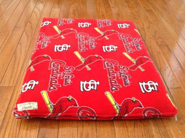 Small cat/dog mat made from St. Louis Cardinals fleece fabric