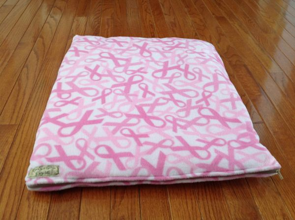 Small cat or dog cushion/mat made from Breast Cancer fleece fabric