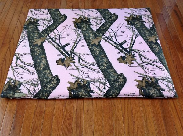 Cover - large - mat cover made from peachy pink/green Mossy Oak 100% cotton fabric