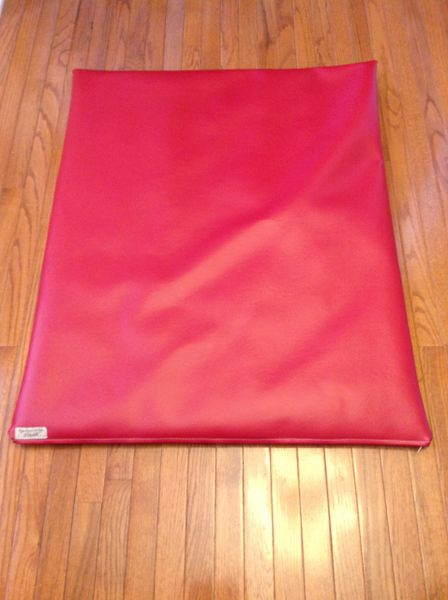 Dog Mat Cushioned Bed - True Red Marine Vinyl - Indoor/outdoor