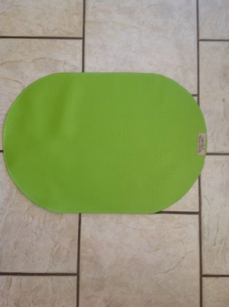 "Large Oval lime green vinyl double sided pet bowl place mat approx. 23""L x 16""W"