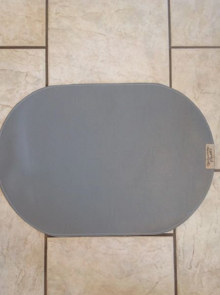 "Large Oval medium grey pet bowl place mat double sided approx. 23""L x 16"" W"