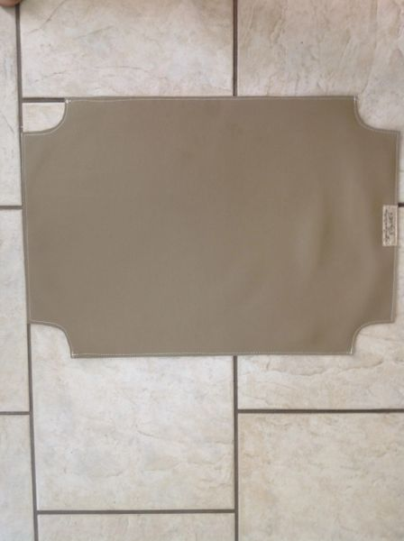 "Large rectangle (medium tan) marine vinyl double sided pet bowl place mat approx. 23""L x 16""W"