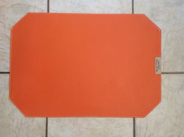 "Pet Bowl Place Mat - Large - Bright Orange Double Sided Approximately 23"" x 16""L"