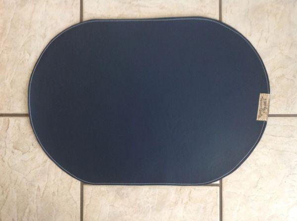 "Pet bowl place mat large deep navy blue. oval shape, marine vinyl approx. 23""L x 16""W"
