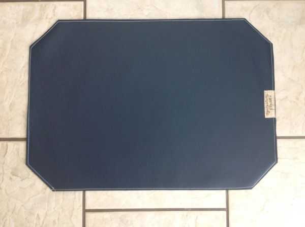 "Pet bowl place mat large deep navy rectangle with 4 angled corners marine vinyl approx. 23""L x 16"" W"