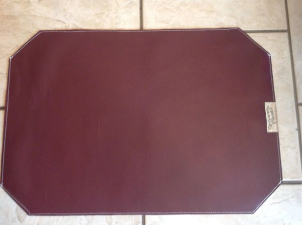 Large Pet Bowl Place mat - burgundy -marine vinyl - doubled sided