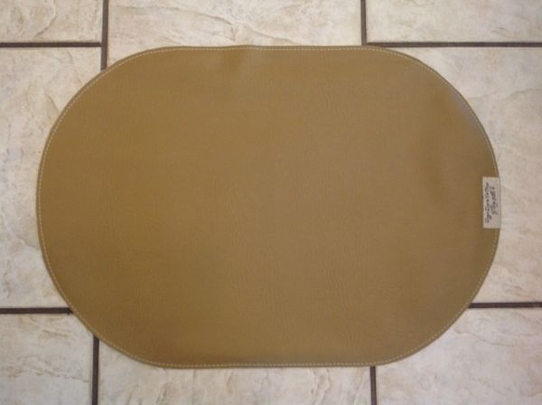 "Pet bowl place mat-Oval-medium tan- vinyl-double sided-approx. 23""L x 16""W"