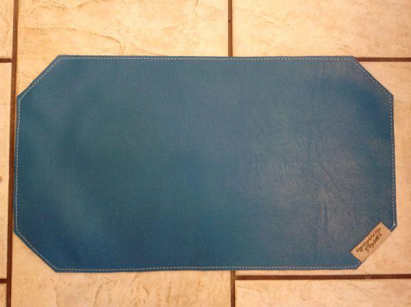 "Medium pet food bowl place mat-marine vinyl-double sided-teale color approx. 23""L x 13""W"