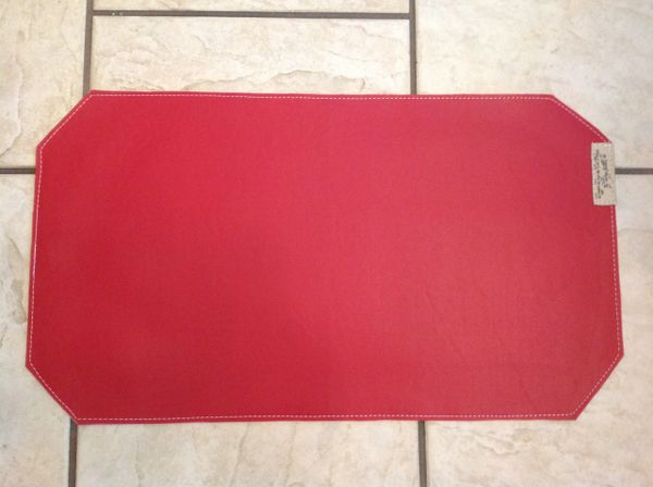 """Medium-pet food bowl place mat-marine vinyl-double sided-bright red-rectangle-approximately 23""""L x 13""""W"""