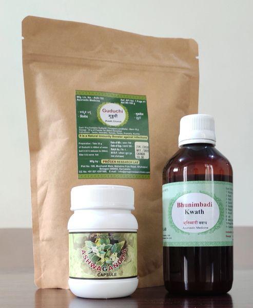 Ayurvedic medicine Combi pack- Ashwagandha 60 caps+ Guduchi kwath churna 100 g+ Bhunimbadi kwath 200 ml