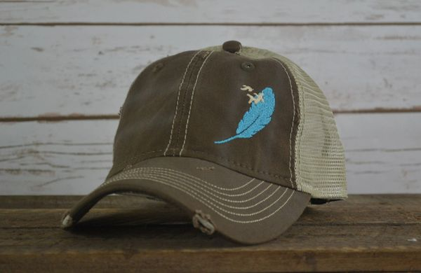 f8ce9352f Hunt Dog Mania, Brown Distressed, Feather Cap