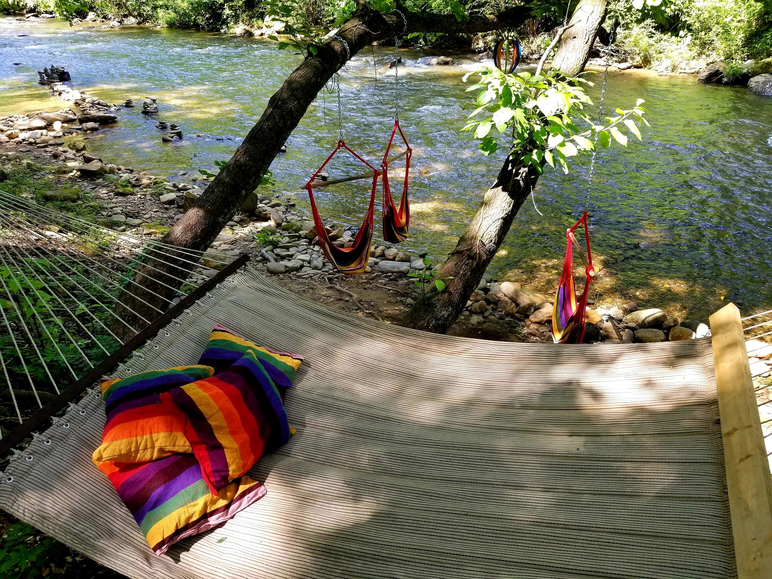 Bear Creek Lodge and Cabins in Helen Ga invites you to relax by the river.